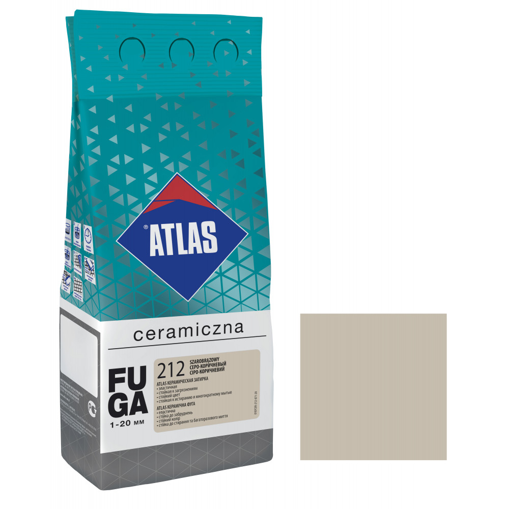 Фуга ATLAS CERAMICZNA (1-20мм) 212 серо-коричневый 2 кг