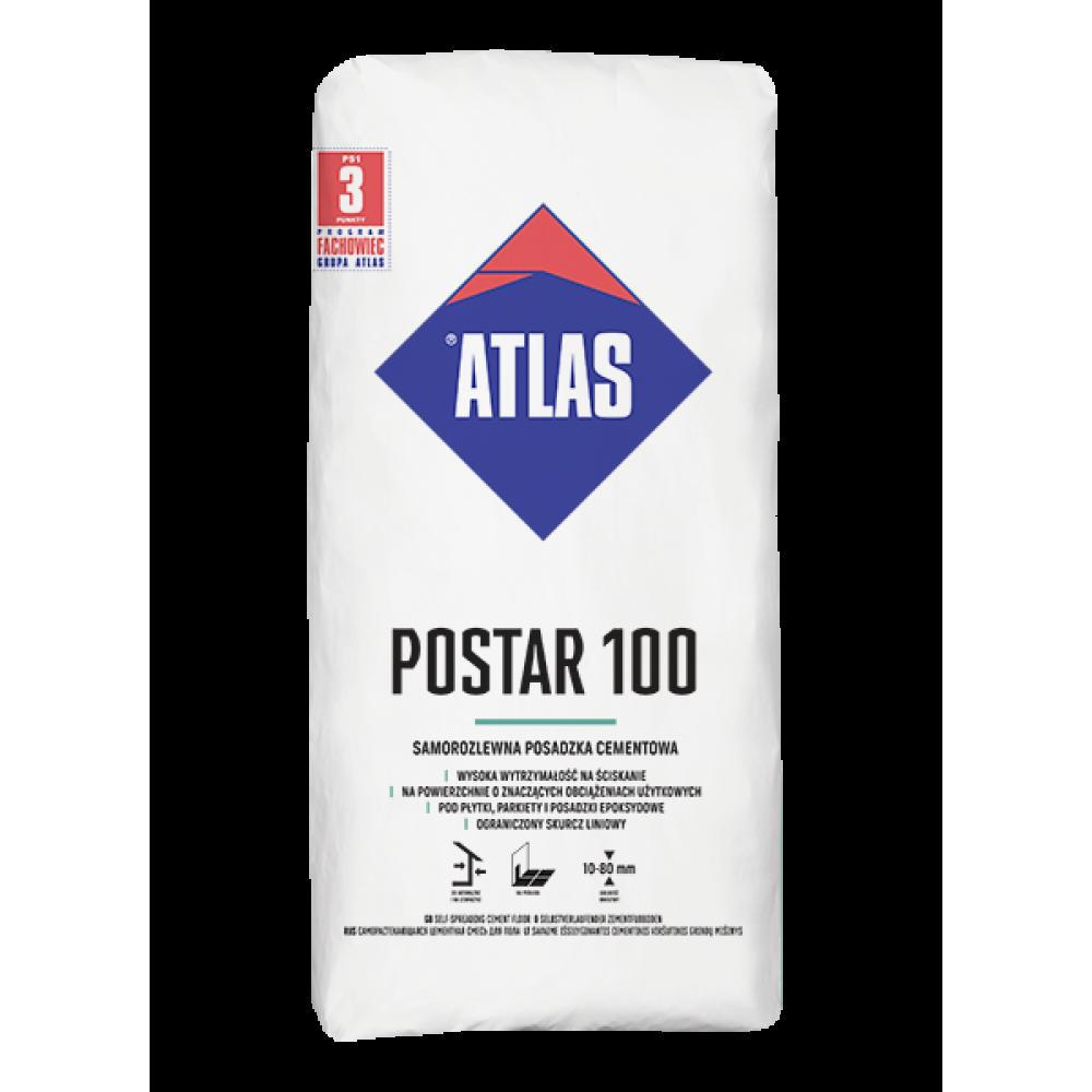 Быстротвердеющая цеметная подкладочная смесь ATLAS POSTAR 100 (10-50мм) 25кг