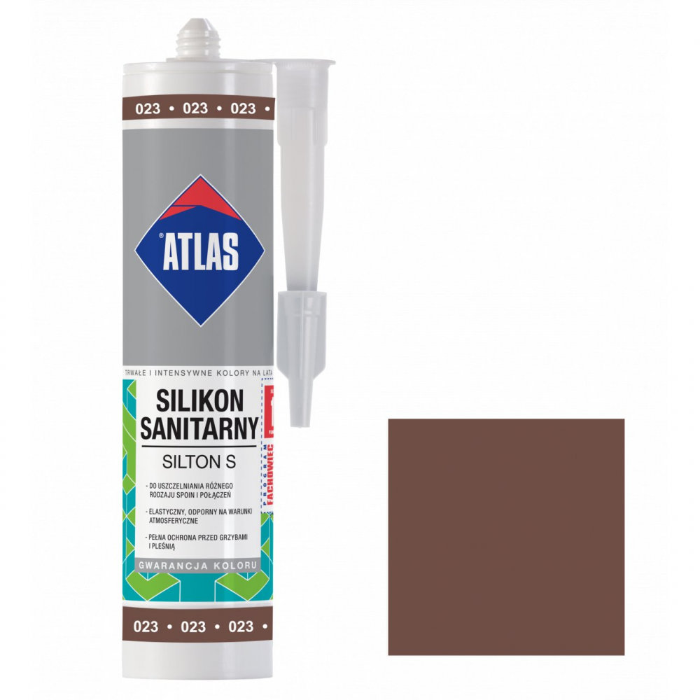 Герметик силіконовий санітарний ATLAS SILTON S 0024 темно-коричневий 280ml