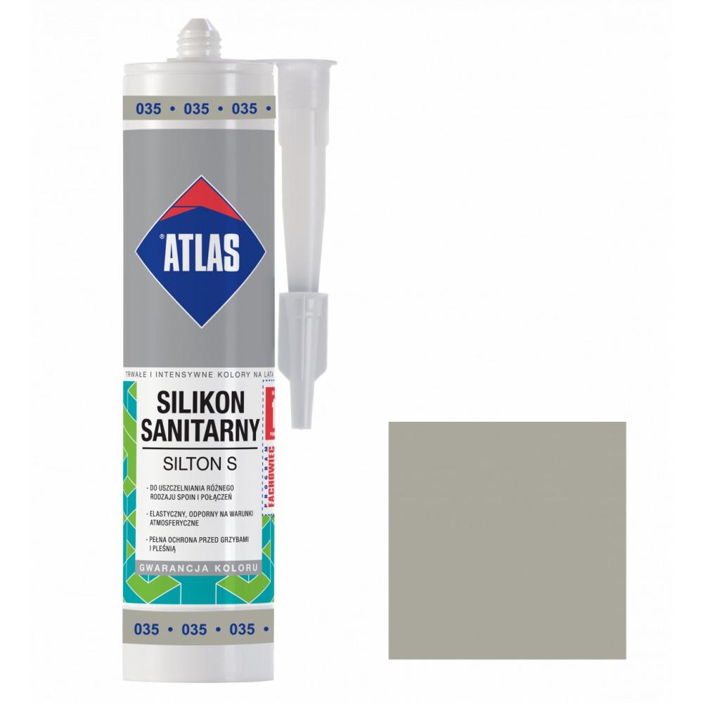 Герметик силиконовый санитарный ATLAS SILTON S 0035 серый 280ml