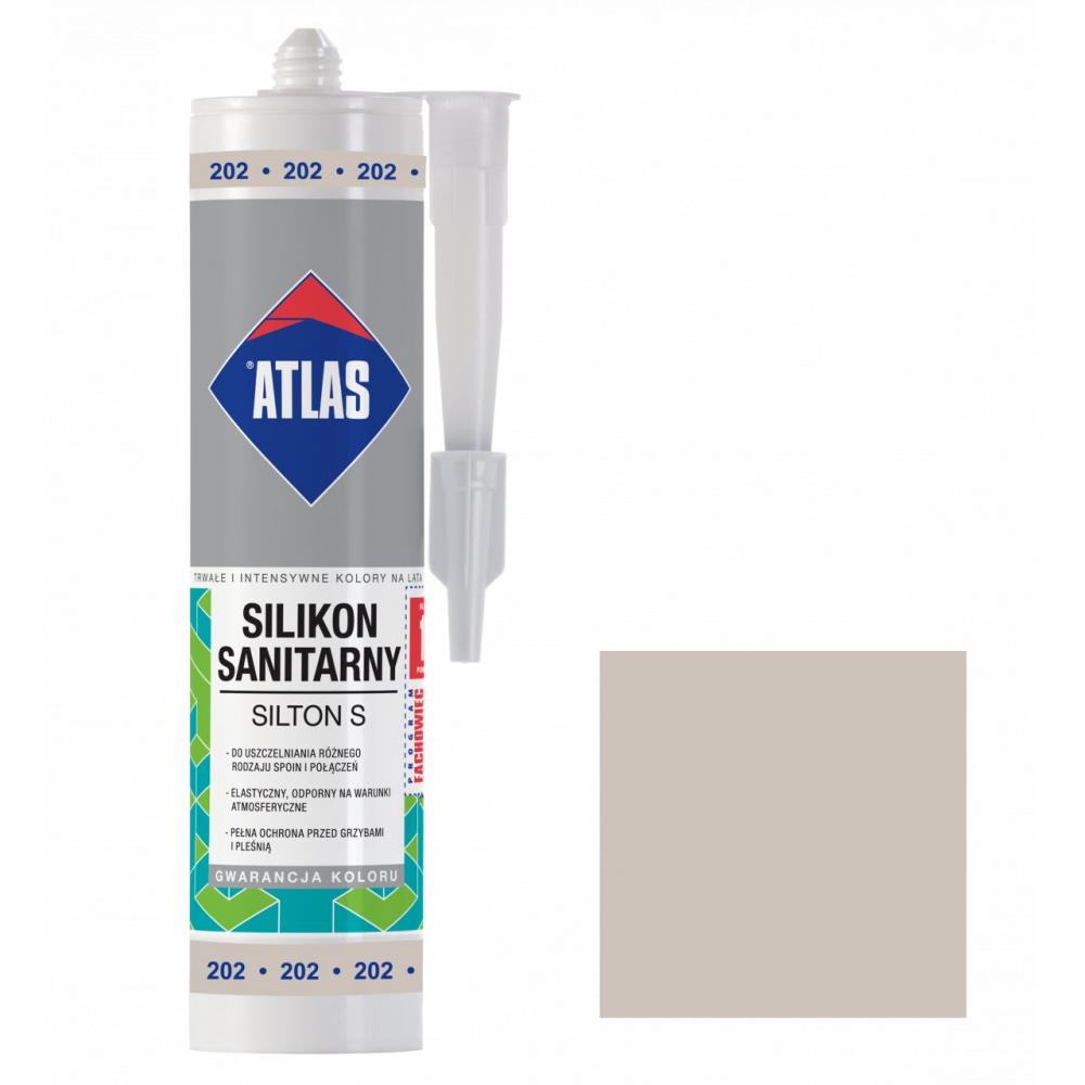 Герметик силиконовый санитарный ATLAS SILTON S 0202 пепельный 280ml