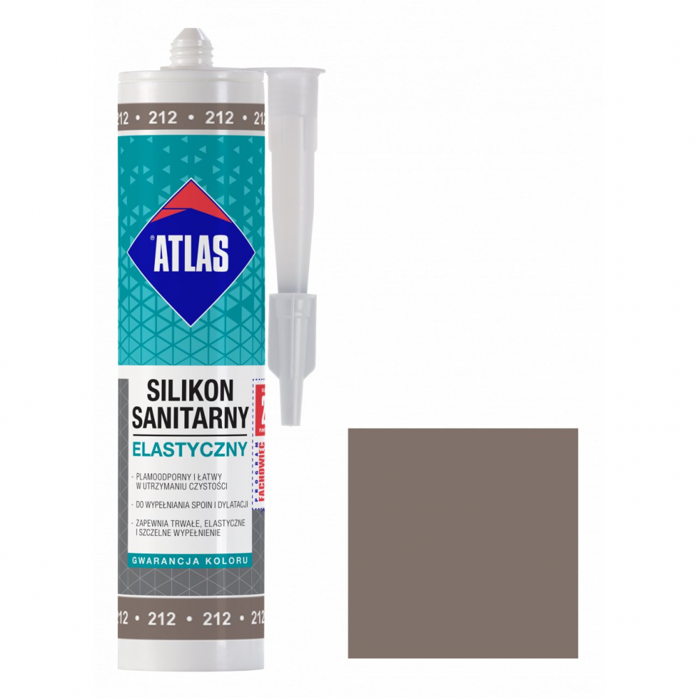Герметик силиконовый санитарный ATLAS SILIKON ELASTYCZNY 212 серо-коричневый 280ml