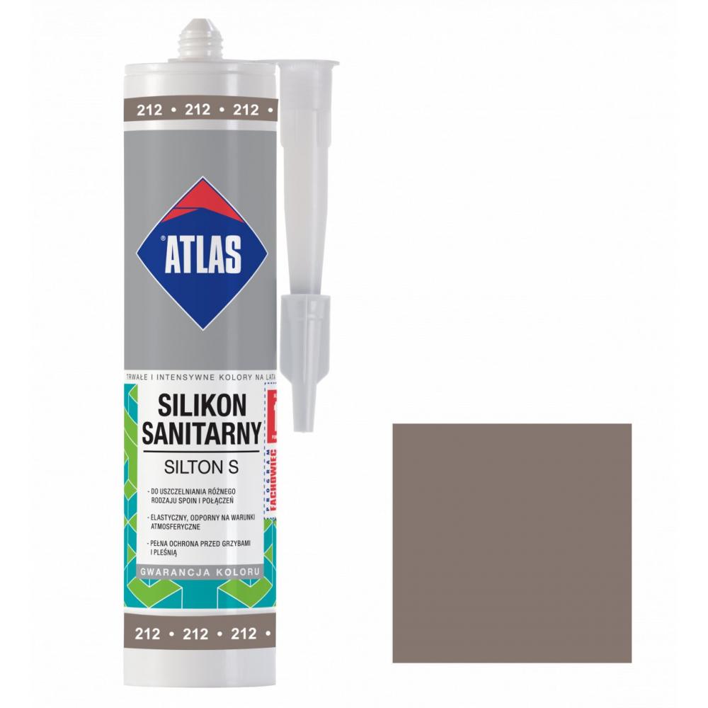 Герметик силиконовый санитарный ATLAS SILTON S 0212 серо-коричневый 280ml