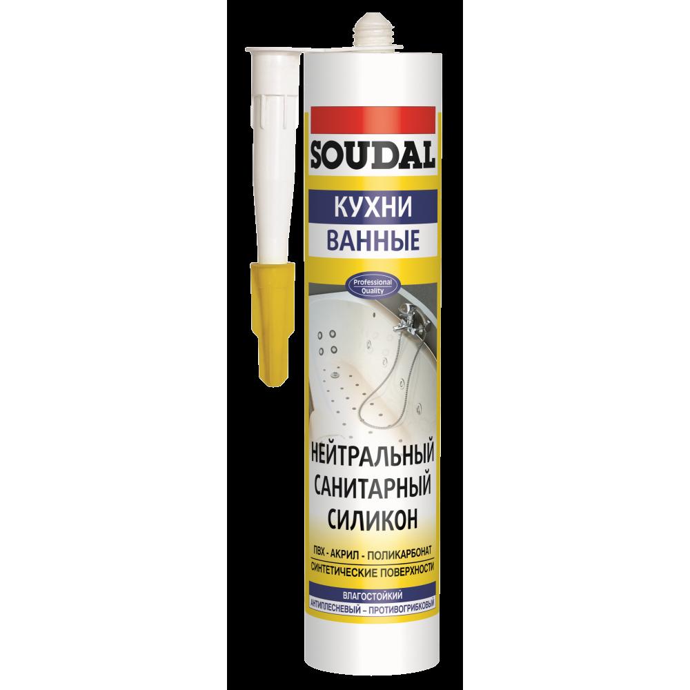 Герметик силиконовый нейтральный санитарный прозрачный SOUDAL 280мл